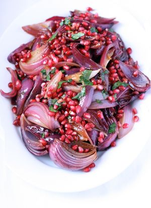 Roasted red onions w pomegranate2