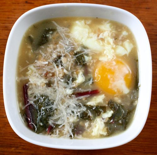 The Bitten Word: Beet Green and Bulgur Soup with Poached Eggs