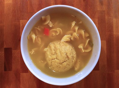 Chicken matzo soup from bagel place