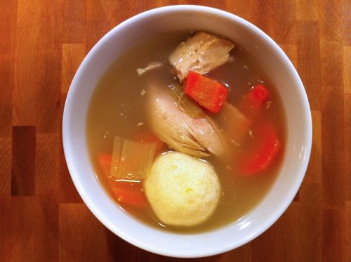 Chicken matzo soup from elis