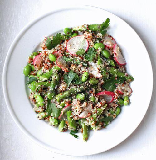 Quinoa salad asparagus radish edamame