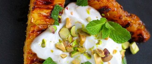 Roasted Pineapple with Honey and Pistachios