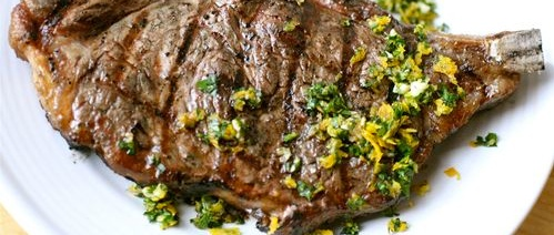 %22Cold-Grilled%22 Ribeye Steaks with Gremolata