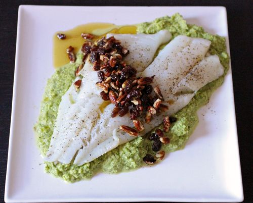 Cod with raisin walnut salsa