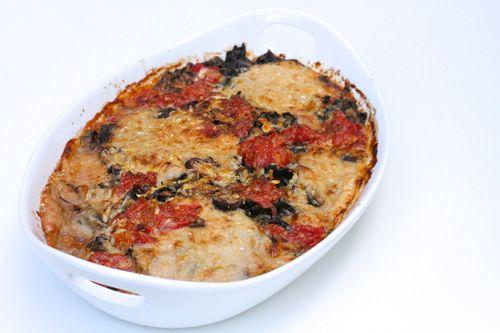 Escarole white bean lasagna