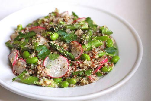 Quinoa salad asparagus radish edamame 2