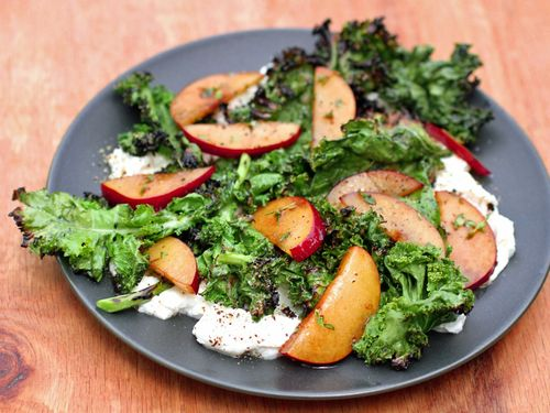 Grilled kale salad with plums