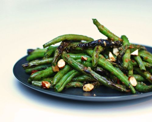 Charred green beans with harissa