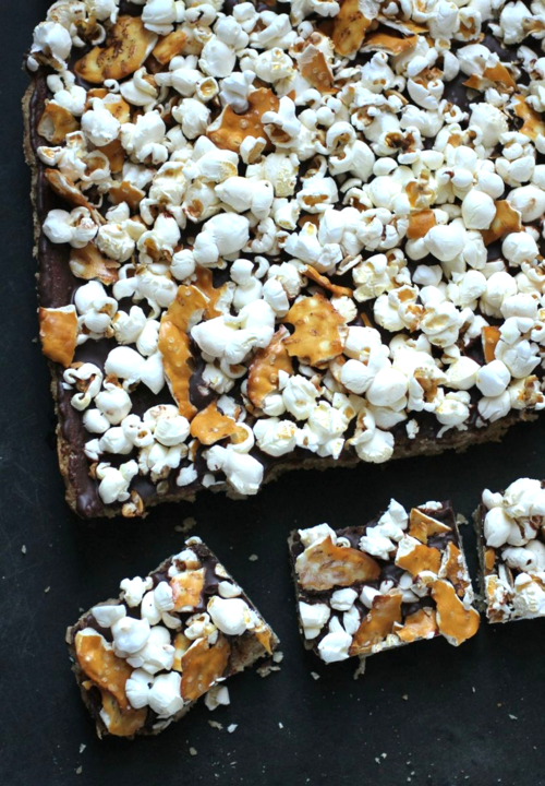 Crunch bars w popcorn and pretzels