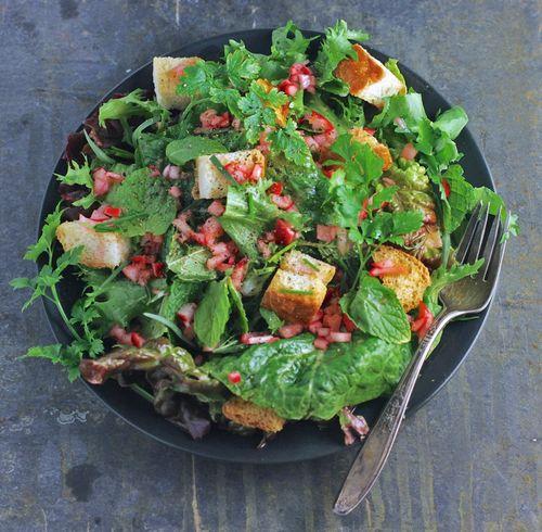 Herb salad pickled radish vinaigrette