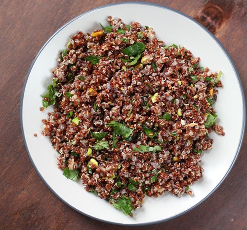 ... one of the dishes from the January issue, Red Quinoa with Pistachios