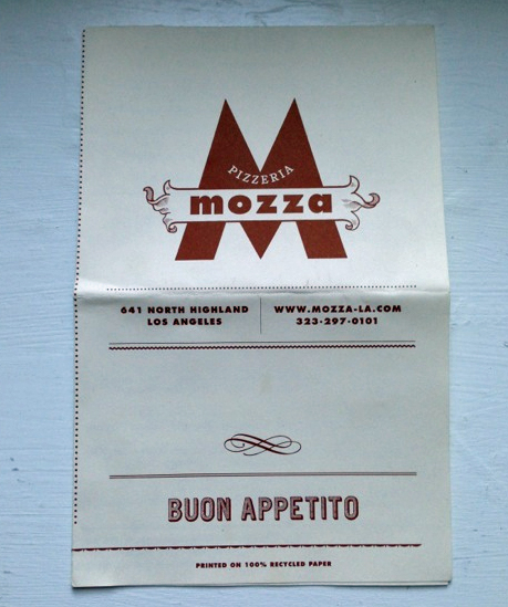 Restaurant menu mozza