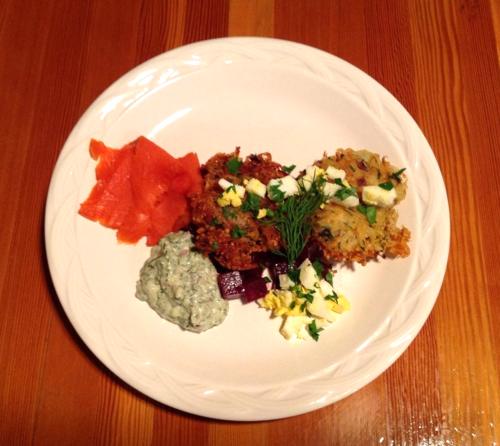 F&W_Potato-Quinoa Cakes with Smoked Salmon and Beets