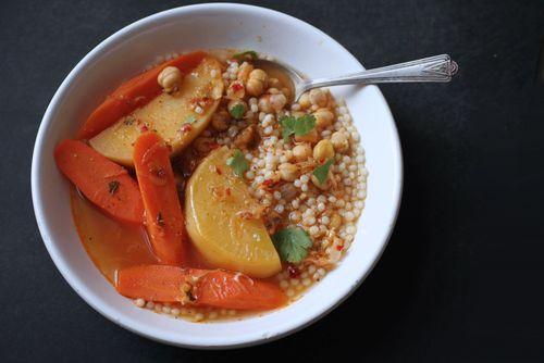 Moroccan carrot rutabega soup couscous
