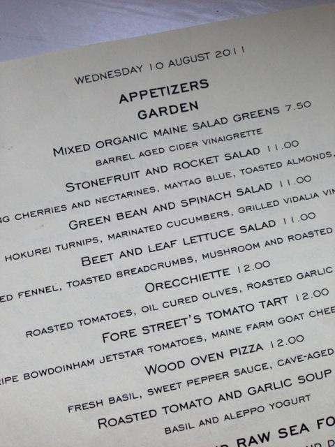 Restaurant menu fore street