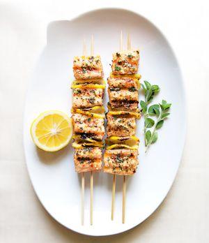 Salmon kebabs bon app