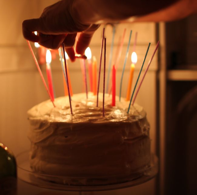 Lighting the birthday cake
