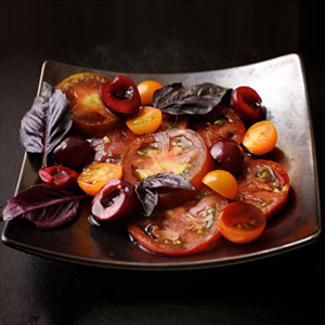 Heirloom Tomatoes with Cherries, Balsamic, and Hyssop sq