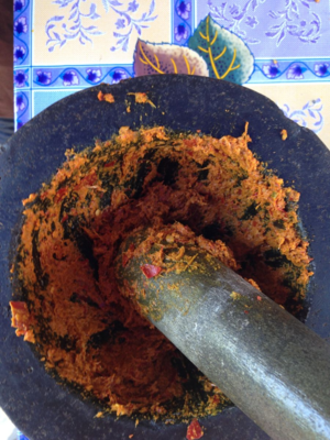 Making Thai curry with mortar and pestle