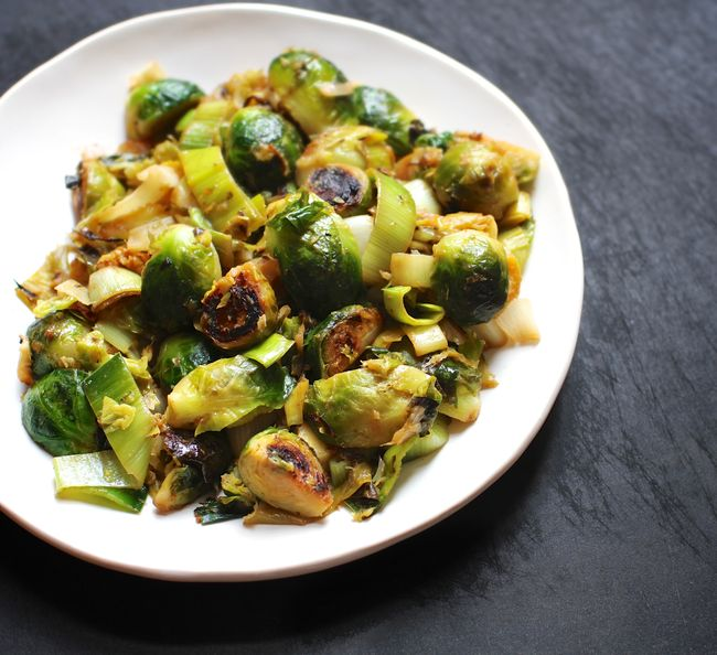 Brussels sprouts with leeks and lime butter