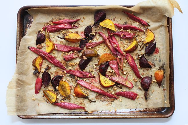 Roasted rhubarb and beets
