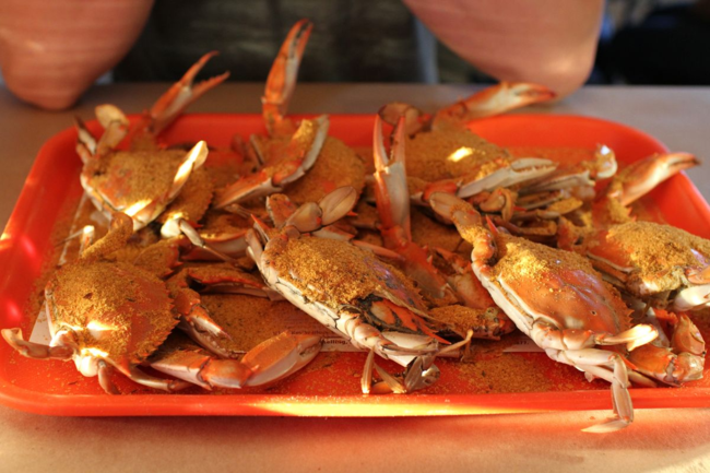 a tray of Maryland crabs