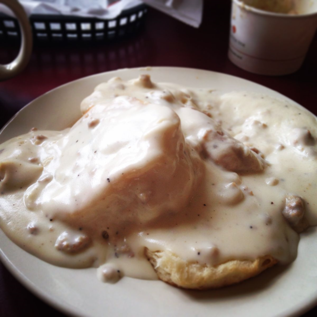 Biscuits and gravy at Windy Corner Market in Lexington KY