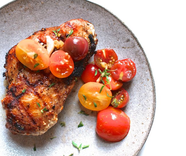 Asian Marinated Tomatoes with Grilled Chicken