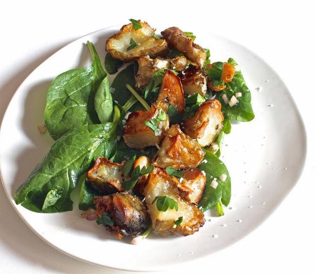 Sunchoke spinach salad brown butter vinaigrette