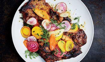 Honey-turmeric-pork-with-beet-and-carrot-salad-Bon-Appetit