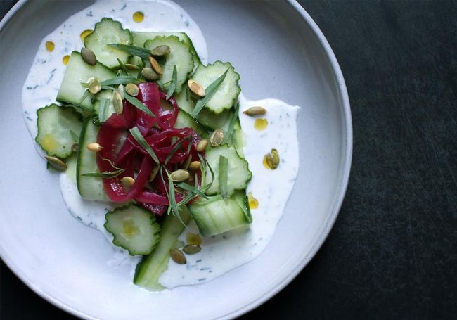 Cucumber Salad with Buttermilk Dressing and Pickled Onion