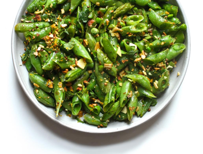 Sugar snap peas with almonds and coriander