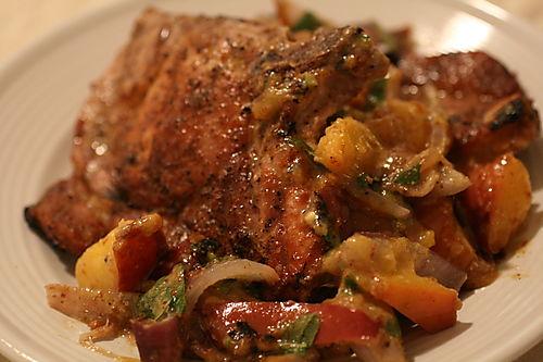 Grilled Pork Chops with Nectarine-Onion Salsa