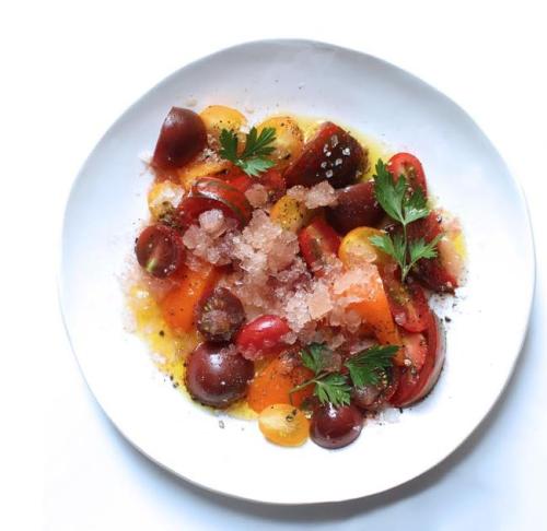 Tomato Salad with Tomato Water Granita