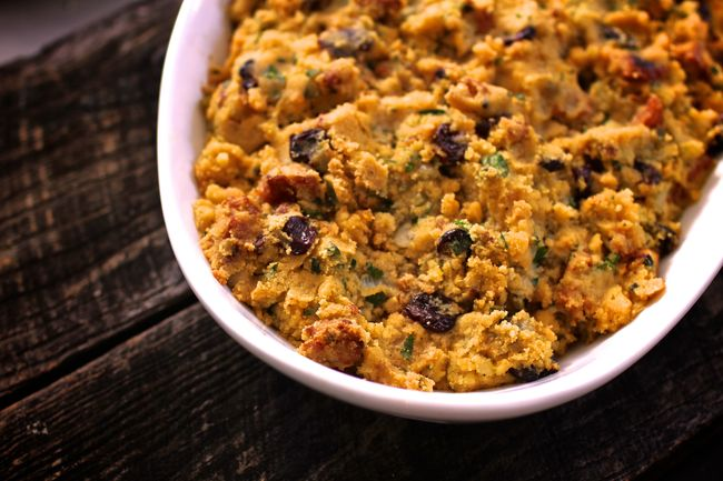 Cornbread chorizo cherry pecan stuffing for POST