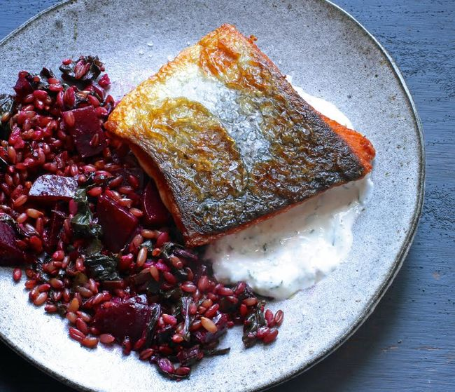 Caraway Salmon with Rye Berry-and-Beet Salad POST