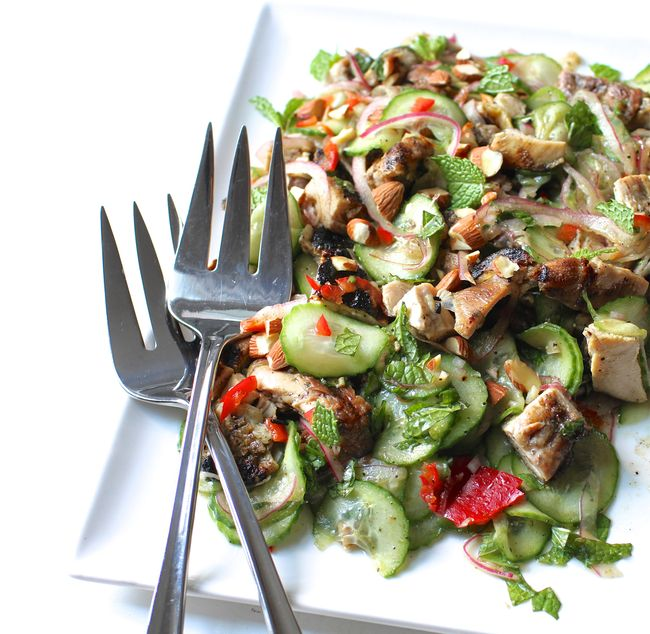 Grilled Chicken Thigh and Cucumber Salad POST