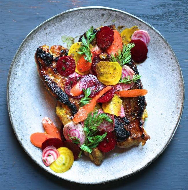Honey-Turmeric Pork with Beet and Carrot Salad