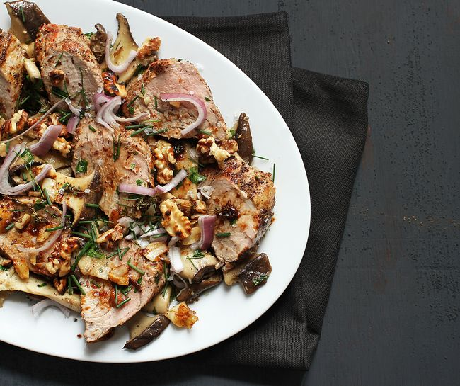 Thyme-Basted Pork Tenderloin with Oyster Mushrooms POST