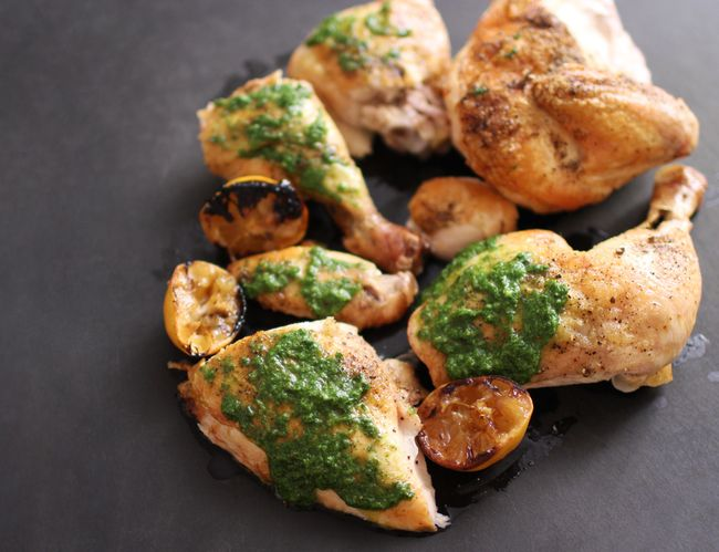 Roast Chicken with Salsa Verde and Roasted Lemons POST
