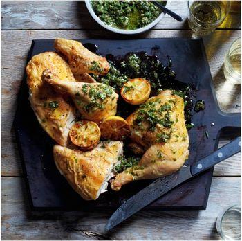 Roast chicken salsa verde F&W