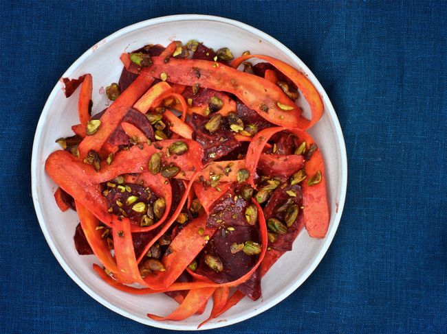 Beet and Carrot Salad with Curry Dressing and Pistachios POST
