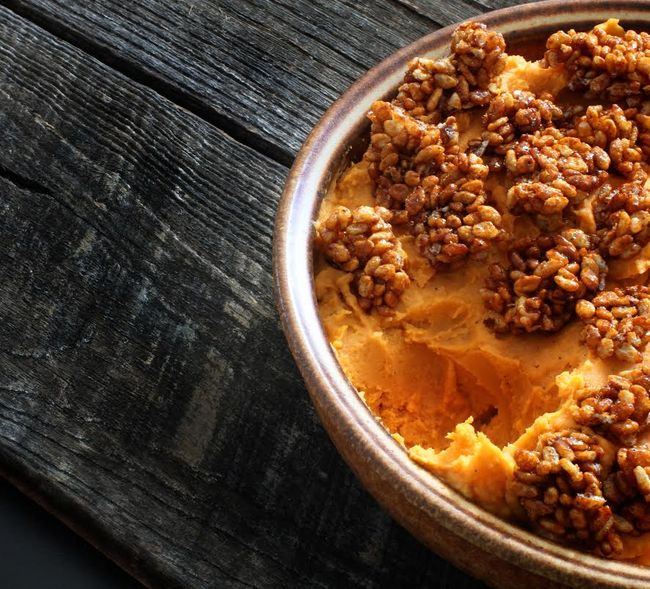 Sweet potatoes crispy rice topping