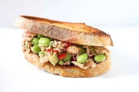 Edamame miso tuna salad sandwich