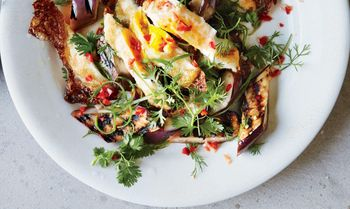Grilled-eggplant-with-fresh-hot-sauce-and-crispy-eggs